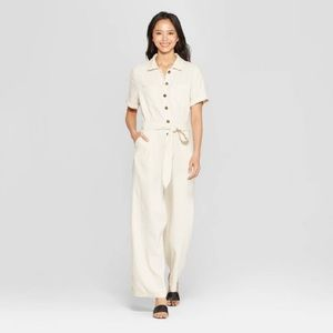 Who What Wear Linen Short Sleeve Button Jumpsuit